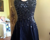 Italian Couture Black Sequin Sparkle Cocktail Go-Go Evening Dress 60s 80s 6