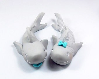 Shark Figurines, Personalized Wedding Cake Topper, Polymer Clay, Handmade Figurines, Summer Wedding Decoration, Bride and Groom