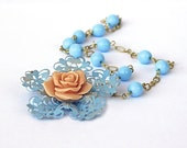 Vintage Filigree Necklace Blue Glass Beads Brass Filigree Peach Rose Cabochon Pastel Victorian Shabby Chic Reduced by 25%