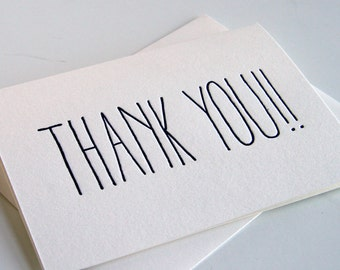 Letterpress Thank You Card - THANK YOU!!!