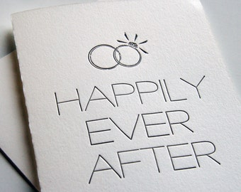Letterpress congratulations wedding card - Happily Ever After Man and Wife