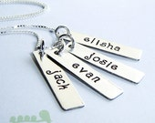 SALES - Charm necklace - hand stamped tags -  Women jewelry  -  Mommy necklace - FOUR bar tags