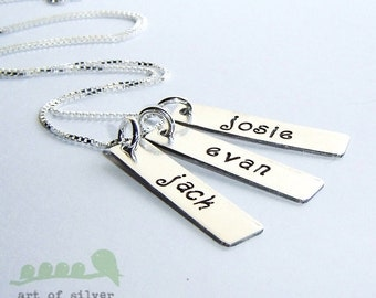 Sterling silver charm necklace - hand stamped tags -  Women jewelry  -  Mommy necklace - three bar tags