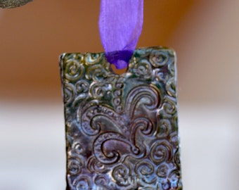 Raku Ceramic Tree Ornament.  SALE. Raku Ceramic Pendant. Paisley Square . Hand Built Ceramics. Holiday Gift.