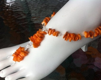 Beachy barefoot sandals summer foot jewelry stretch shell thong sandle footwear and sparkly swarovski elements anklet tangerine orange