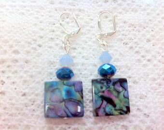 Beachy abalone shell earrings sparkly swarovski elements opalized  beads tropical island jewellery summer dangles