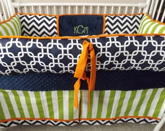Crib bedding baby nursery sets Navy Chevron, Lime and  Orange  DEPOSIT Down payment only