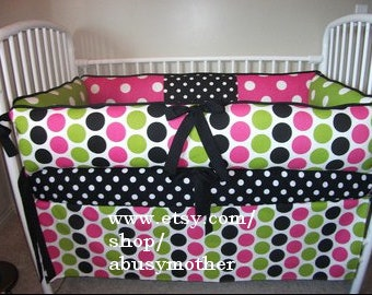 Polka  Dot Girls Pink Black Bumper Pad Crib Set Girl DEPOSIT Down payment ONLY