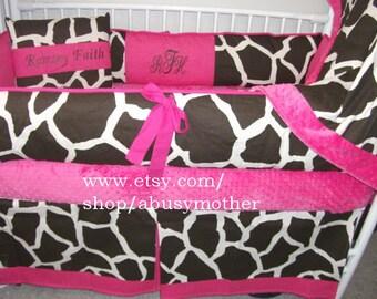 Giraffe Hot pink  Bumper Pad Baby Crib Set DEPOSIT
