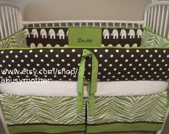 Zoofari Elephant Green and brown Neutral Boy or Girl Baby Bumper Pad Crib Set Deposit DOWN PAYMENT ONLY