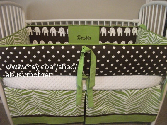 Zoofari Elephant Green and brown Neutral Boy or Girl Baby Bumper Pad Crib Set Deposit ONLY