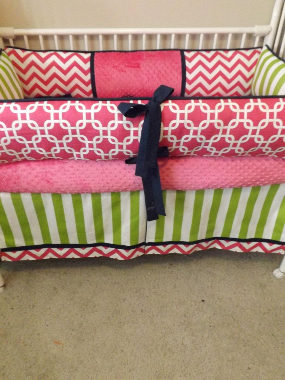 hot pink navy and limebaby bedding crib set deposit down. Black Bedroom Furniture Sets. Home Design Ideas