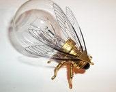 Steampunk brooch - Large Brass Fly Lightbulb Brooch - Unique Steampunk Steam Punk Clockwork Jewelry