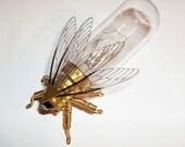 Steampunk brooch - Large Fly Lightbulb Brooch - Unique Steampunk Steam Punk Clockwork Jewelry