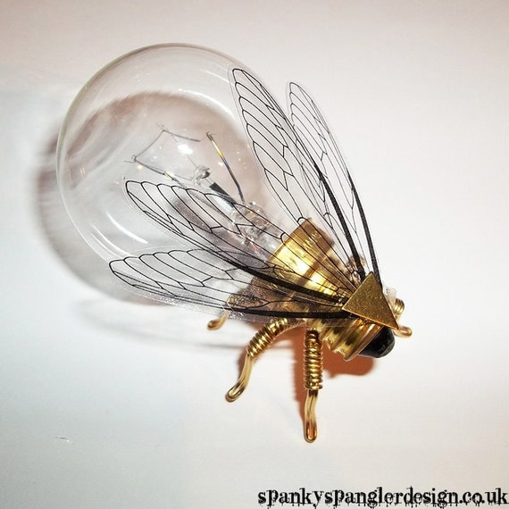 Save the Bees - Steampunk brooch - Large Brass Bumblebee Lightbulb Brooch - Unique Steampunk Steam Punk Clockwork Jewelry