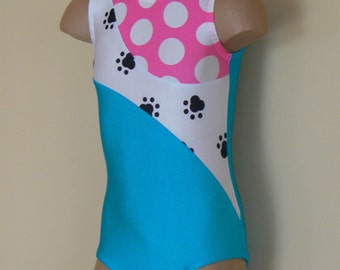 Turquoise Gymnastic Dance Leotard  with Paw Print or Polka Dots Print Insert. Dancewear. Toddlers Girls Gymnastics Leotard.Size 2T - GIRLS 7