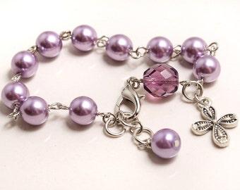 Light Amethyst Pearl Rosary Bracelet