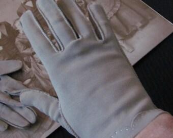 Vintage Brown Tan Hand Stitched Nylon Wrist Gloves