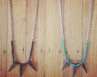 Raw Brass Triple Spike Long Beaded Pendant Necklace