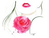 Rouge in Love, print from original watercolor and pencil fashion illustration by Jessica Durrant