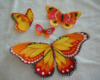Yellow and Orange X LG and Small  Butterflies Iron-On fabric Appliques Set of 4  #209
