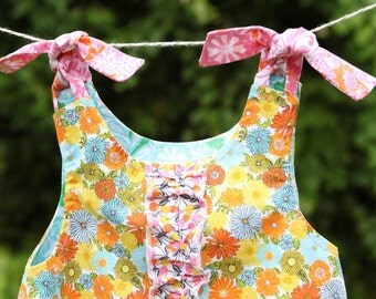 little girls reversible twirl dress/jumper/pinafore size 9 months floral with ruffles
