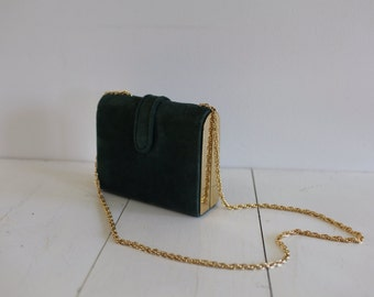 Vintage green and gold, suede purse