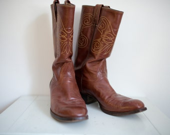 Vintage Tony Lama Mens Western Brown Leather Cowboy Boots Sz 9