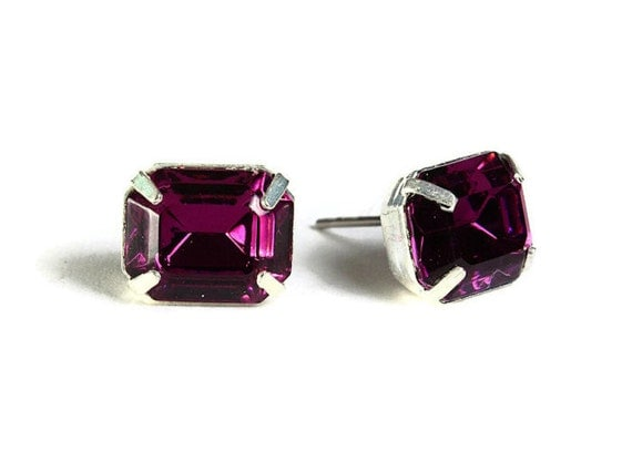 Sale Clearance 20% OFF - Estate style purple rhinestone crystal stud earrings (532)