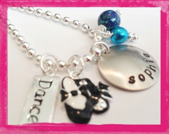 TAP DANCE Necklace- Hand Stamped Personalized Charm Necklace for Girls #D15