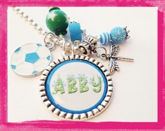 Personalized Soccer Jewelry  - Necklace  -  SOCCER AND DRAGONFLY - One of a Kind - Custom Jewelry #B88