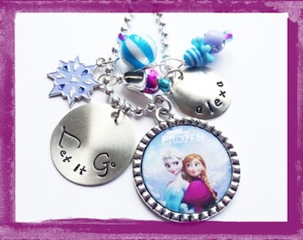 LET IT GO - Personalized Necklace - Hand Stamped Charm - Bezel Charms - Personalized Jewelry for Girls #B27