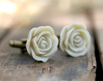 Ivory Ecru Rose Flower Cufflinks // Groom Gift // Best Man Gift //  Groomsmen Gift  // Vintage Wedding