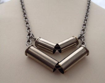 Annie Oakley Chevron 38 Special Gun Shell Necklace with nickel plated 9mm Statement Neklace