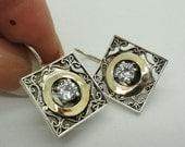 New Israel Smart Modern Art Square 9k Gold  925 sterling Silver White Cz earrings (se110)
