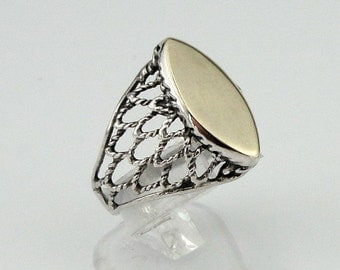 Sterling silver integrated 9K yellow gold filigree ring size 7 (r100)y