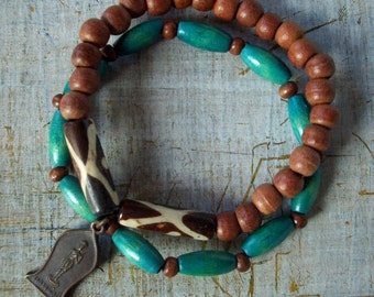 Buddha Bracelet, Set of Two Bracelets, Bronze Buddhist Amulet, Turquoise Wood & Natural Wooden / Ethinic Beads, Stretch Fit, Free Shipping