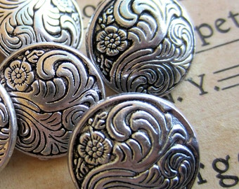 6 Metal shank buttons gunmetal dome engraved button 18mm lead and nickel safe