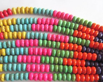 Turquoise beads multi color howlite strand apx 80 gemstone rondelle beads 8mm x 5mm G026MHP(D7)