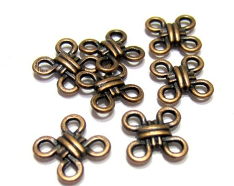 16 Copper knotted jewelry connectors jewelry charms antique copper pendants 10mm x 10mm no lead no nickel no cadmium RLF010(SR)