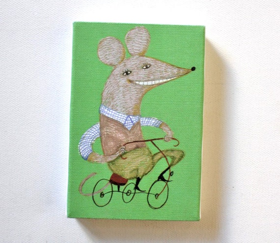 Bicycle mouse / Tiny canvas print / Green background / Riding bicycles / Children illustration / Happy animals / Big ears