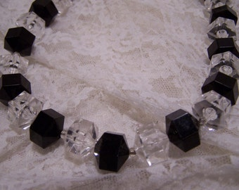 1960's Square Chunky Black and Clear Acrylic  Bead Necklace, Vintage Estate Necklace