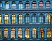 New York Soho Photo, Blue Indigo Nyc Cast Iron Manhattan Building City Wall Decor Architecture Wall Art nyc76