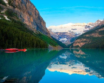 Lake Louise Photo, Banff Photography Red Canoes Reflections Jasper Alberta Rockies Mountains Landscape Canada can6