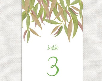 gum leaf printable table numbers - seating arrangement, tree, forest, bush, reception decor, table decor, downloadable diy, australian