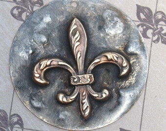 Rustic Molten Soldered Fleur de lis Pendant Bohemian Charms Brass and Copper Metalwork Craft Supplies Mixed Metals Altered Art Supplies Nola