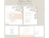 Peach Wedding Invitations, Wedding Invites, Gray, Grey, Monogram, Belly Band, stripes, linen