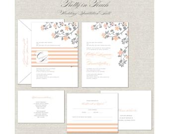 Peach Wedding Invitations, Romantic Wedding Invites, Gray, Grey, Custom Monogram, Belly Band, Stripes, Linen Invitation, Elegant Wedding