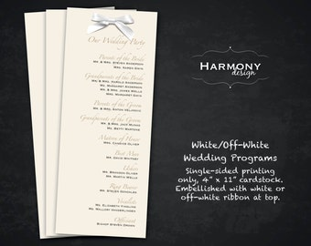 Metallic White or Off-White Wedding Programs, Single-sided, embellished with White or Off-White Bow - Set of 50