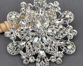 "Rhinestone Brooch Pin 4"" HUGE Crystal Brooch Bridal Wedding Brooch Cake Topper Wedding Cake Decoration DIY BR381"